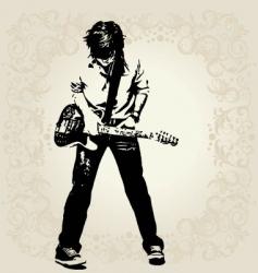 Teen guitar player vector