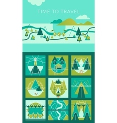 Camping and Travel Infographic set with Icons and vector image vector image