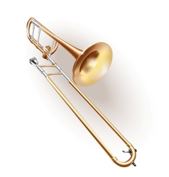 Classical trombone on white background vector image vector image