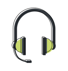 headphones with microphone equipment accessory vector image