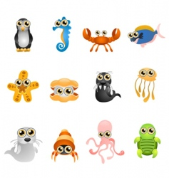 marine life animals set vector image vector image