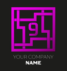 Number nine logo in colorful square maze vector