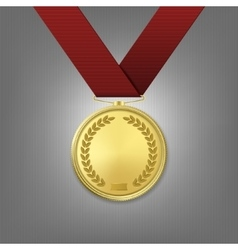 realistic golden award medal with red vector image vector image