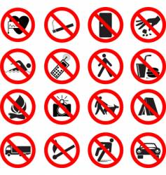set of forbidden signs vector image vector image