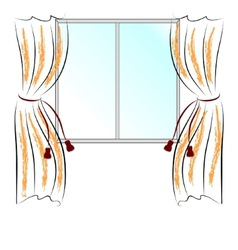 window and curtains vector image vector image