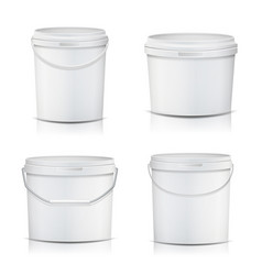 3d bucket set realistic mock up plastic vector image