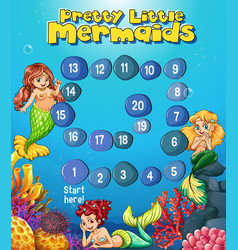 boardgame template with mermaids under the sea vector image vector image