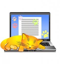 ginger cat asleep vector image vector image