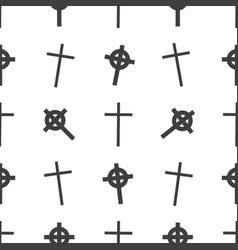 halloween seamless pattern tomb cross vector image