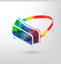 watercolor virtual reality glasses vr headset vector image