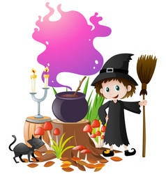 witch and magic brew in pot vector image