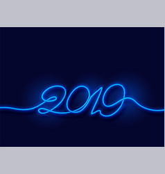 2019 happy new year neon blue light background vector image