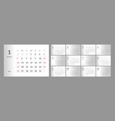 2020 new year calendar in clean minimal vector