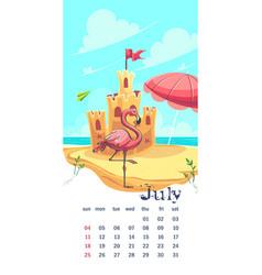 2021 calendar july funny cartoon castle vector