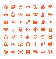 49 childhood icons vector image