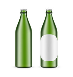 500ml green glass beer bottle with label and blank vector
