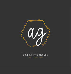 Ag initial letter handwriting and signature logo vector
