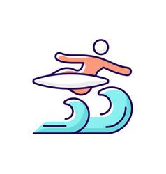 Air surfing technique rgb color icon vector