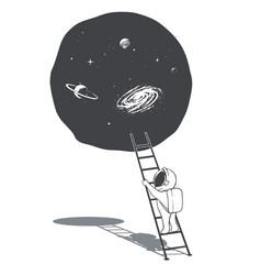 An astronaut climbs ladder into space vector