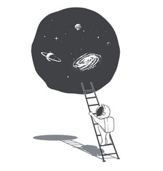An astronaut climbs the ladder into space vector