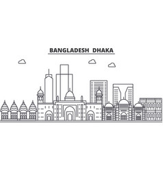 Bangladesh dhaka architecture line skyline vector
