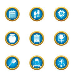 Beeswax honey icons set flat style vector