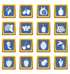 berries icons set blue vector image