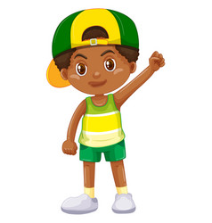 Boy from kenya in green shorts vector
