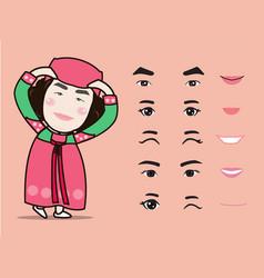 cartoon cute korea traditional girl character vector image