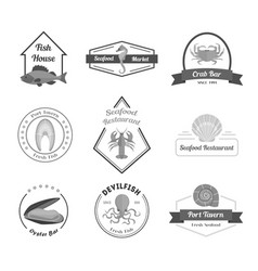cartoon silhouette black seafood badges or labels vector image