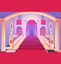 Castle staircase upward stairs in palace entrance vector
