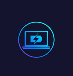 Charging battery on computer screen icon vector