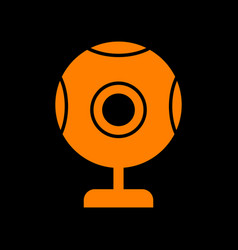 chat web camera sign orange icon on black vector image