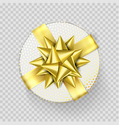 christmas gift box present white golden ribbon vector image