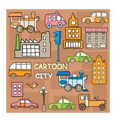 City in style cartoon vector image
