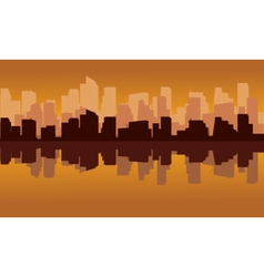 City silhouette reflections top and bottom vector