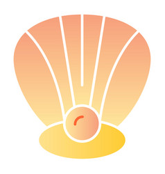 Clam flat icon perl in a shell color icons in vector