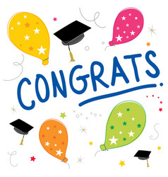 congrats text balloon color graduate design vector image