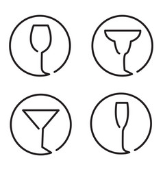 Continuous line art logo set of different glasses vector