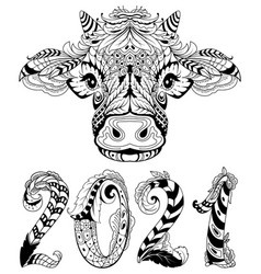 cow head symbol 2021 new year text lettering vector image