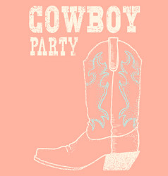 Cowboy boot background hand drawn graphic vector