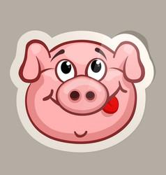 Cunning pig sticker vector