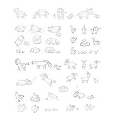 Cute cartoon farm animals and birds funny horses vector
