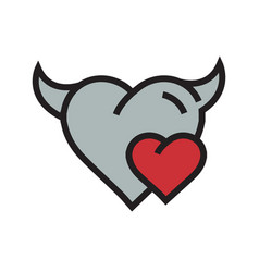 Devil mini heart icon red vector
