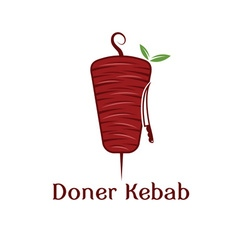 Doner kebab with leaves and knife design template vector