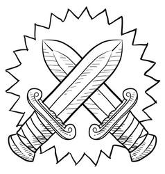Doodle conflict swords vector