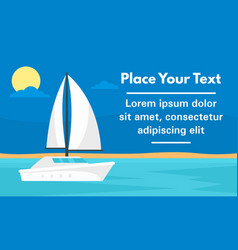 elite white yacht concept banner flat style vector image