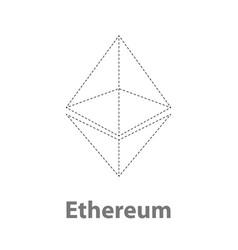 ethereum thin symbol chrystal vector image