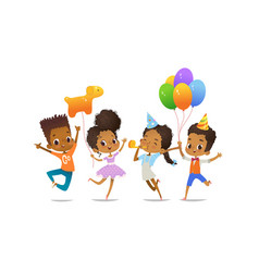 Excited african-american boys and girls vector