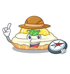 Explorer cartoon piece of yummy lemon meringue pie vector